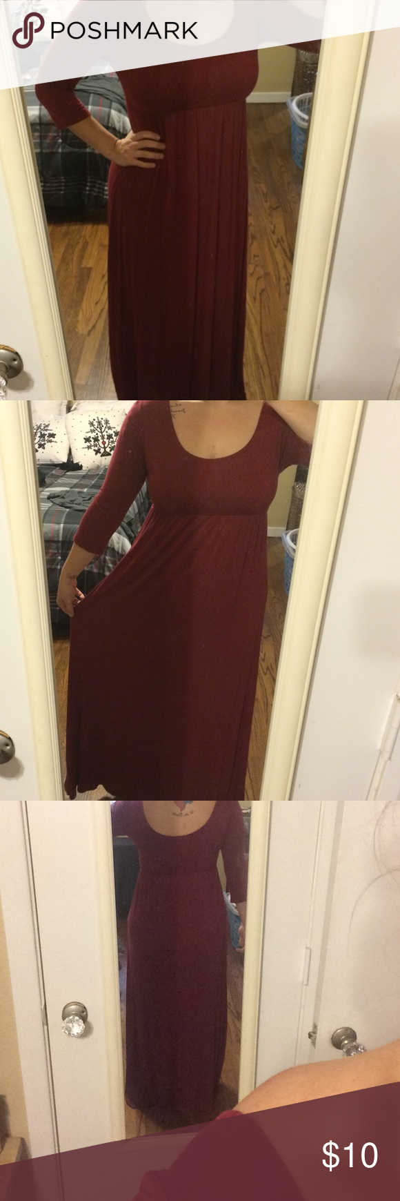 Red sleeve maxi dress by nymphe red maxi dress bra friendly