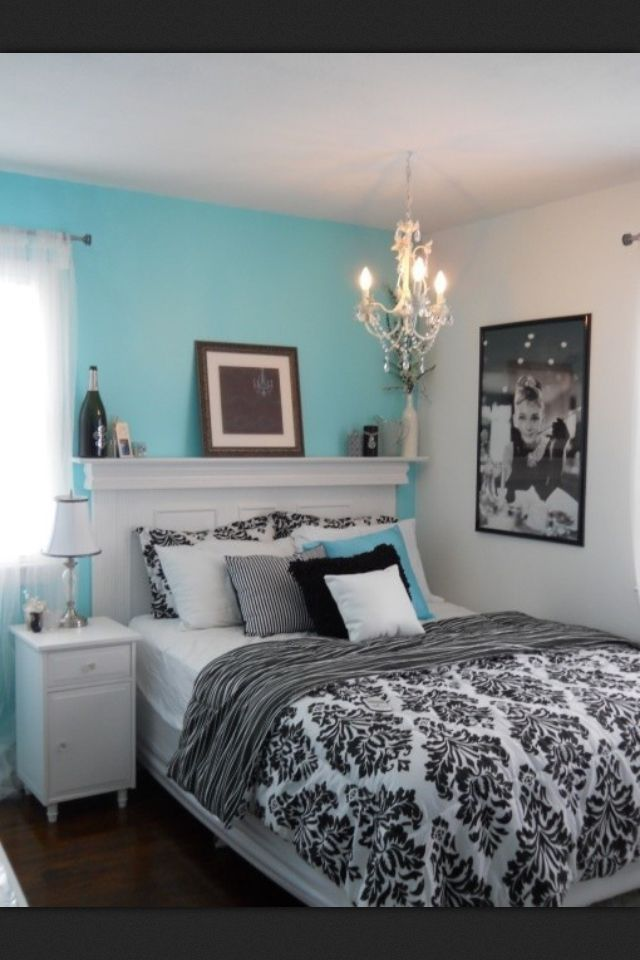 Blue Black And White Room Found On Tumblr Unknown Source Tiffany Inspired Bedroom Elegant Bedroom Bedroom Inspirations