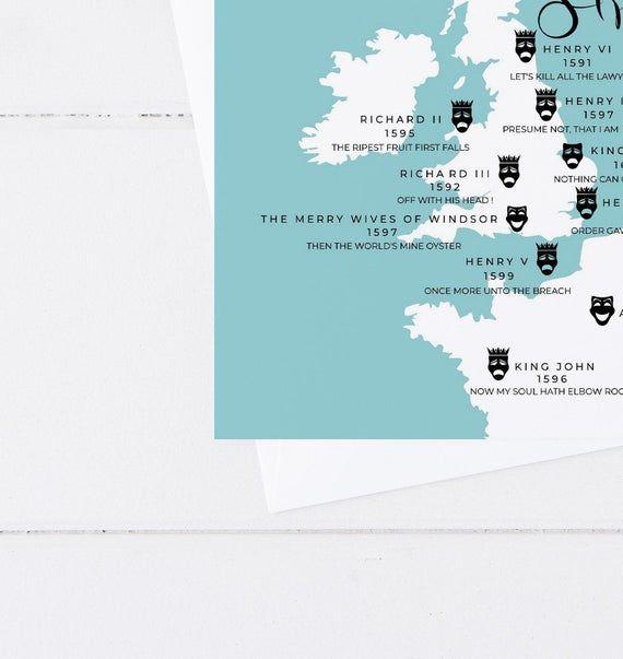 William Shakespeare's Plays Handmade Greeting Card - Map of British Isles - Literary Quotes - Blank #britishisles