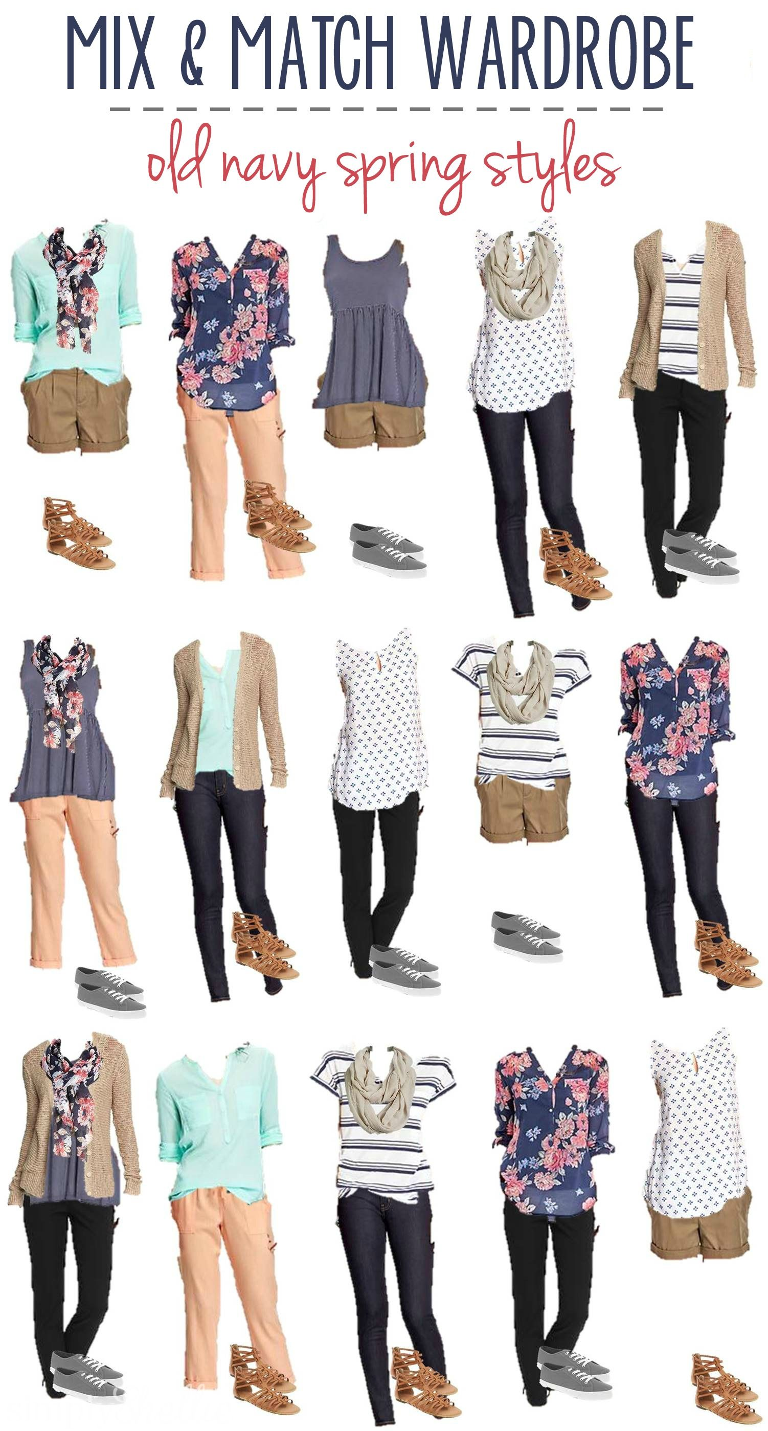 4ad22898ef Transition your wardrobe into Spring with these 14 pieces from Old Navy.  Mix and match to make 16 different outfits. Perfect for an afternoon at the  park