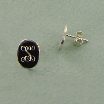 Single Initial Sterling Silver Oval Post Earrings $29 @NoteworthyNotes