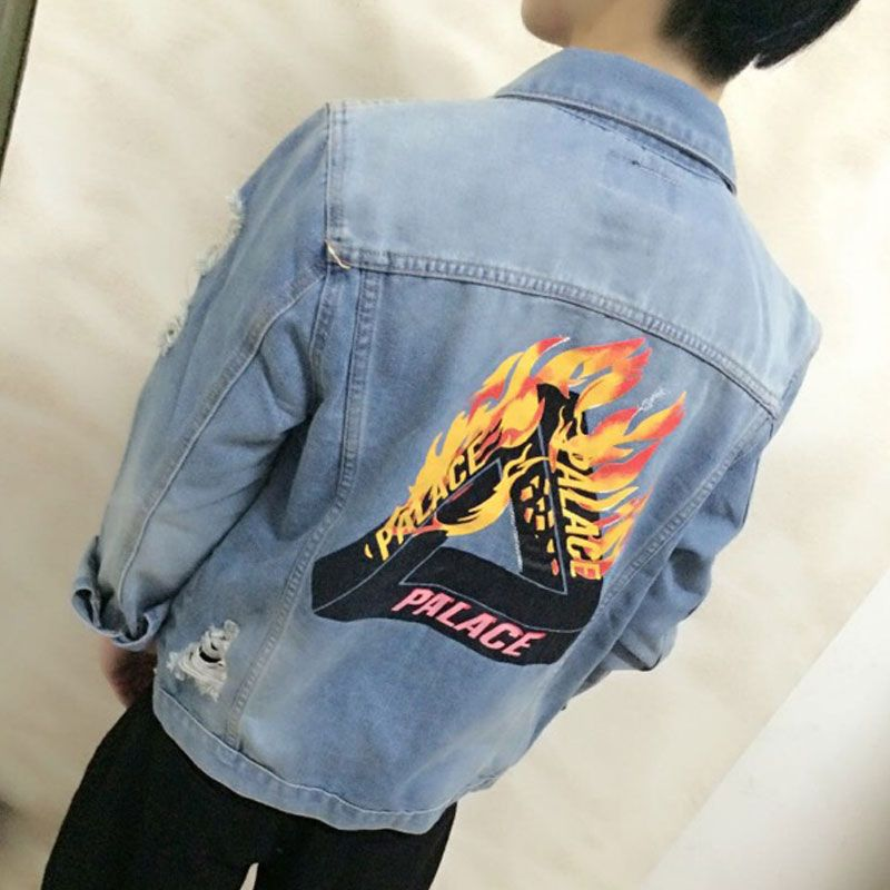 869d04c73d1 Palace Jackets Men Hole Cowboy Palace Triangle Flame Holes Denim Jacket Hip  Hop Skateboards Casual Streetwear Coats Black/Blue