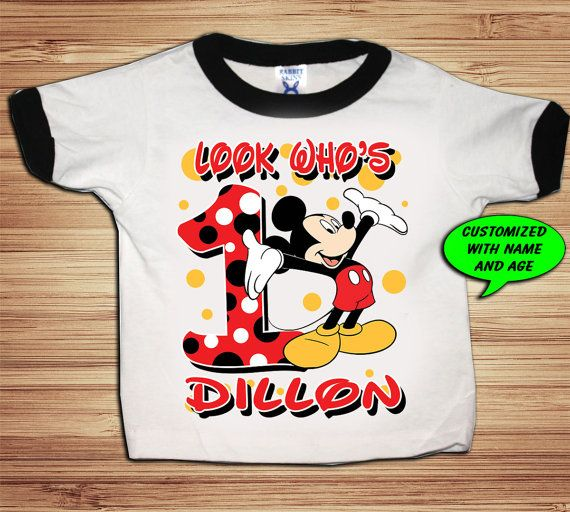 Personalized Mickey Birthday Ringer T by PersonalizedBirthday
