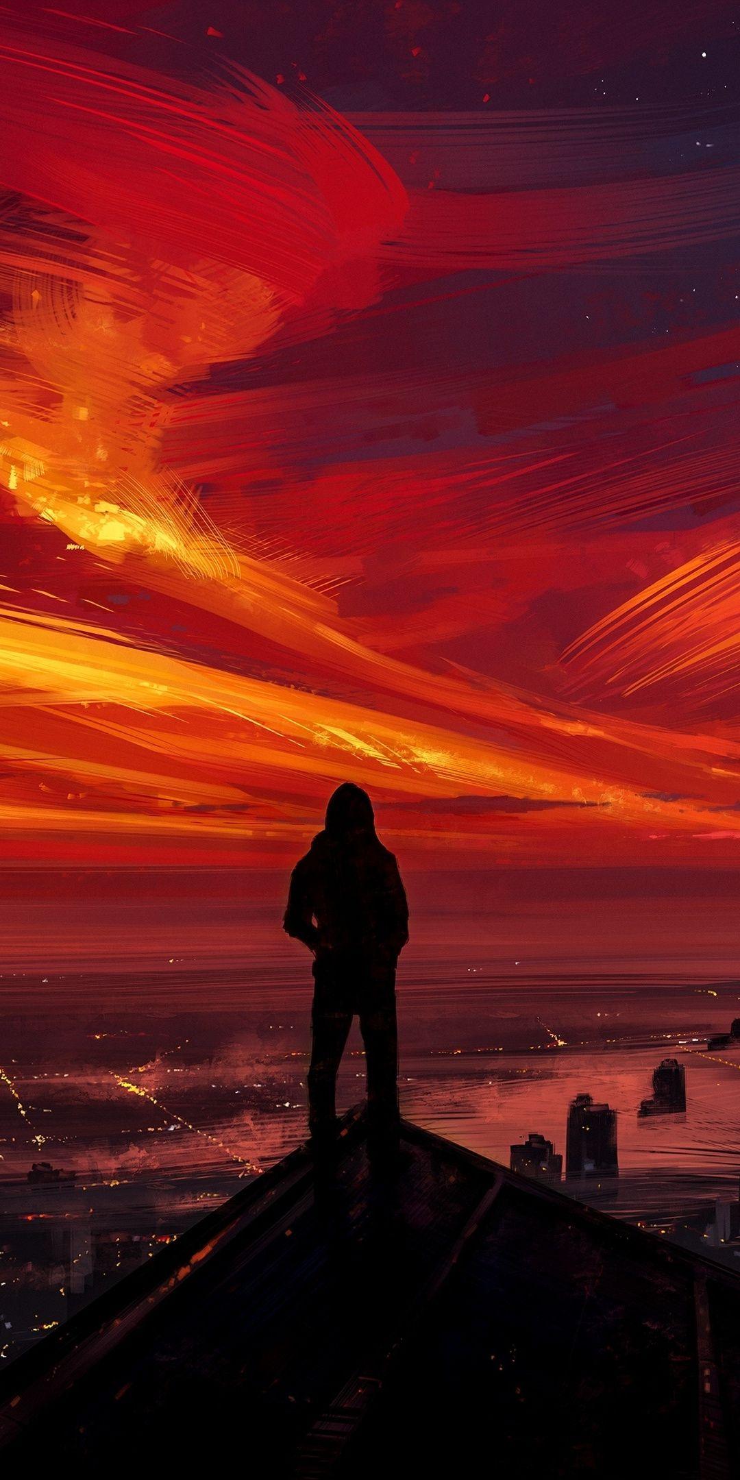 Man Sunset Skyline Silhouette Art 1080x2160 Wallpaper Cool Iphone Wallpapers Hd Best Iphone Wallpapers Joker Hd Wallpaper Hd wallpaper alone man silhouette rock