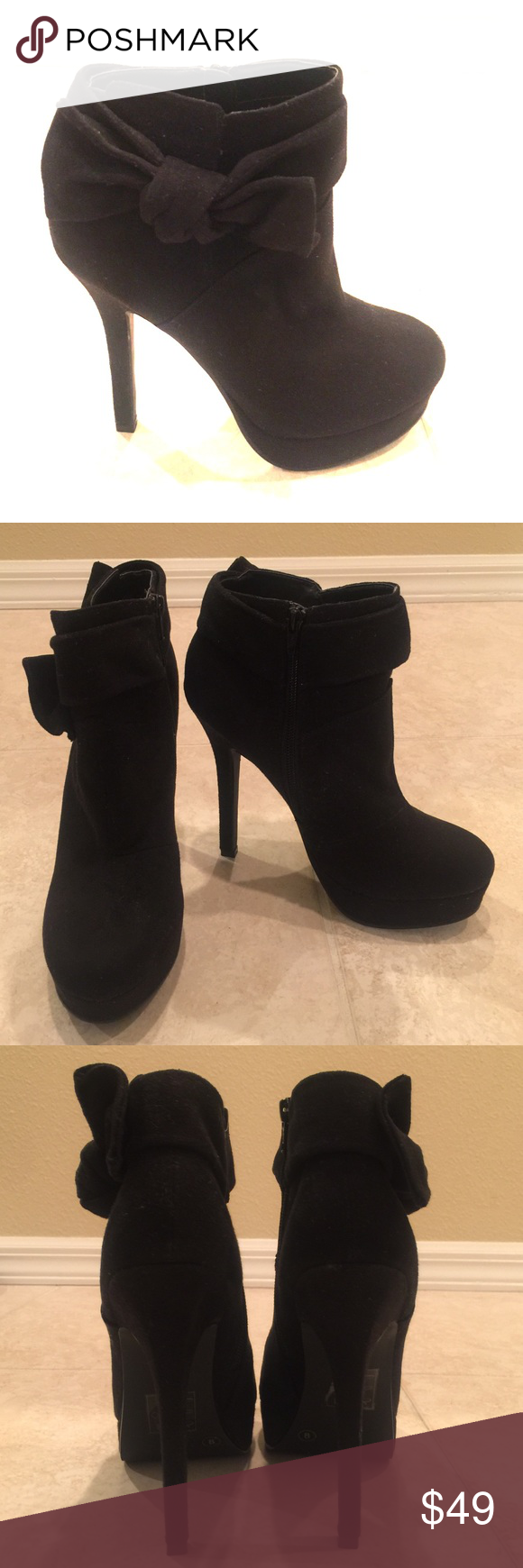 """🆕Call It Spring Ankle Boots🎀 Black suede ankle boots with bows on the outer sides and inner side zippers. Heel hight is approximately 5.25"""". Brand new, never worn! Call It Spring Shoes Ankle Boots & Booties"""