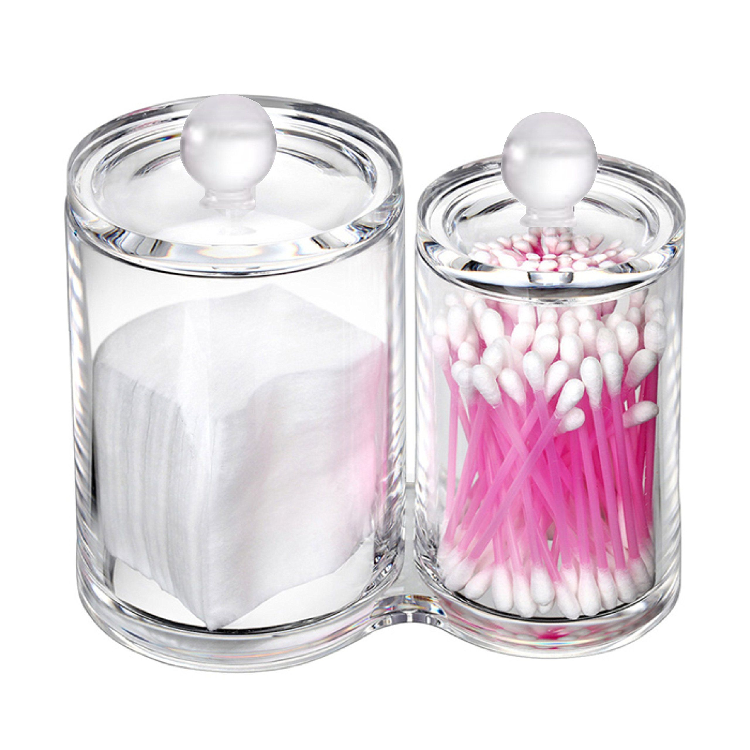 Cq acrylic Multifunctional Home Decor for Cotton Swabs Organizer and Cotton Balls Storage,5.4 x3.1x 5.1,Pack of 1