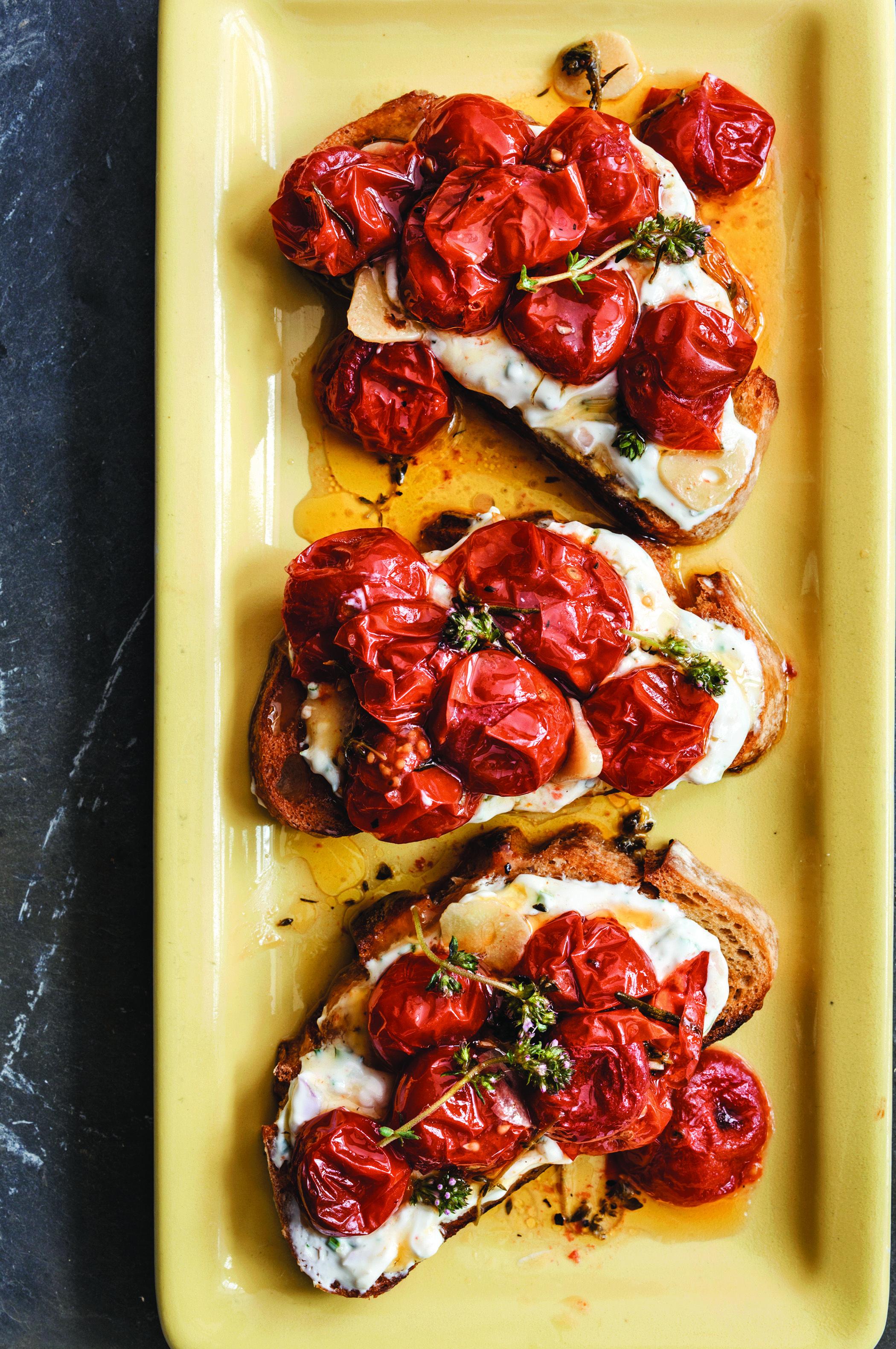 Cherry Tomato Crostini with Homemade Herbed Goat Cheese ...