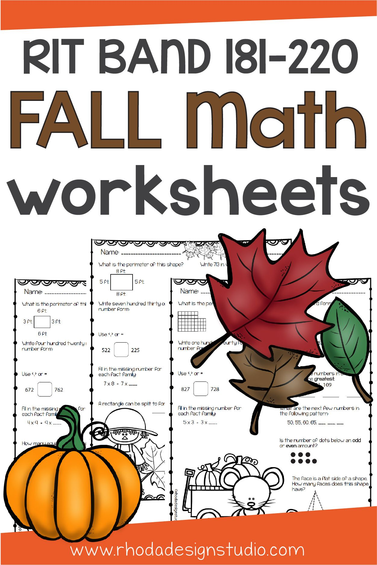 Fall Math Worksheets Nwea Map Prep Or Practice Rit Band