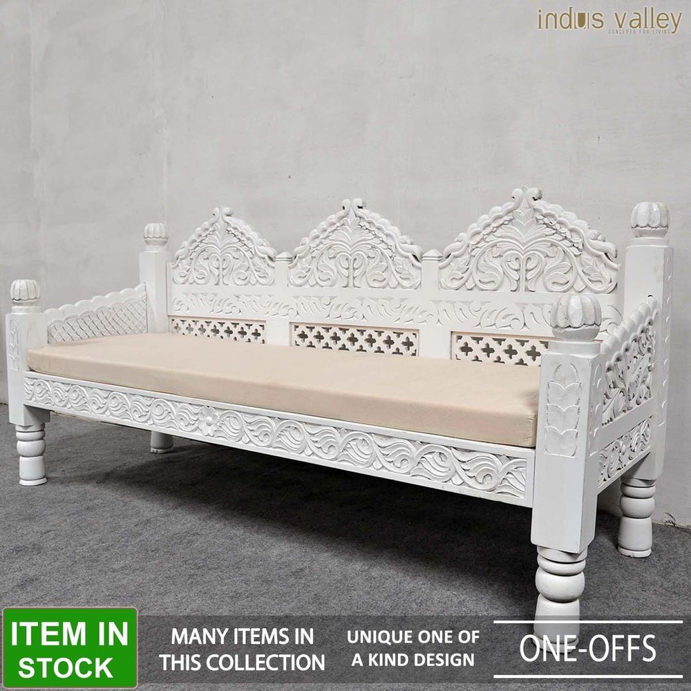 mughal hand carved daybed mattress balinese day bed rustic white xl