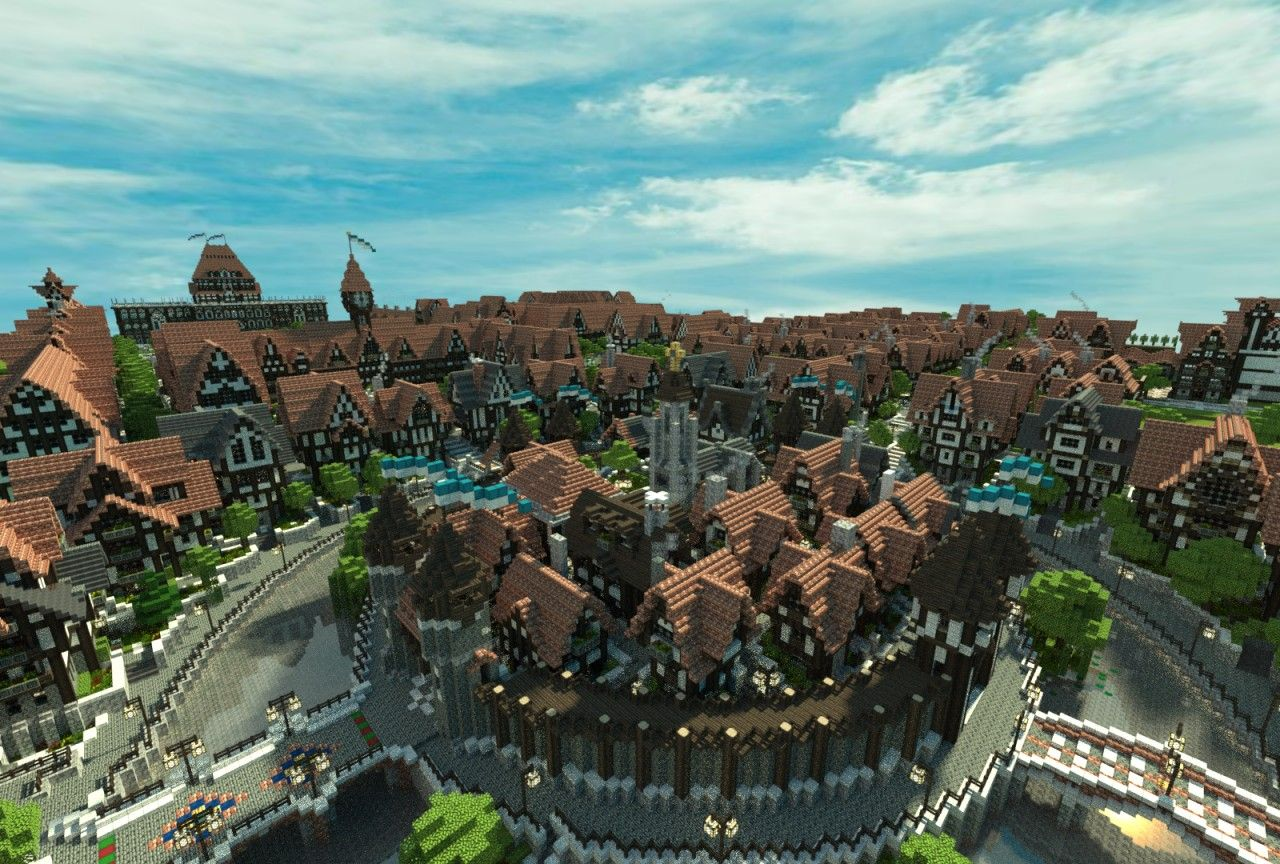 Ferrodwynn Towncenter  Huge Medieval City  Download   Video Minecraft Map  With Images