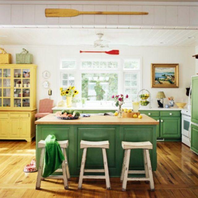 Yellow Farmhouse Kitchen: Green And Yellow Farmhouse Kitchen. This Green Was The