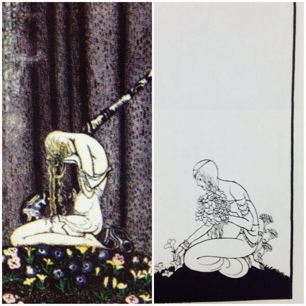 kazeto(風兎)@Catodywyllwch 左はカイ・ニールセンの『太陽の東・月の西』の装画 右は内田善美『聖パンプキンの呪文』〈夏の夜の夢〉の装画 カイ・ニールセンをリスペクトしているのがよくわかります