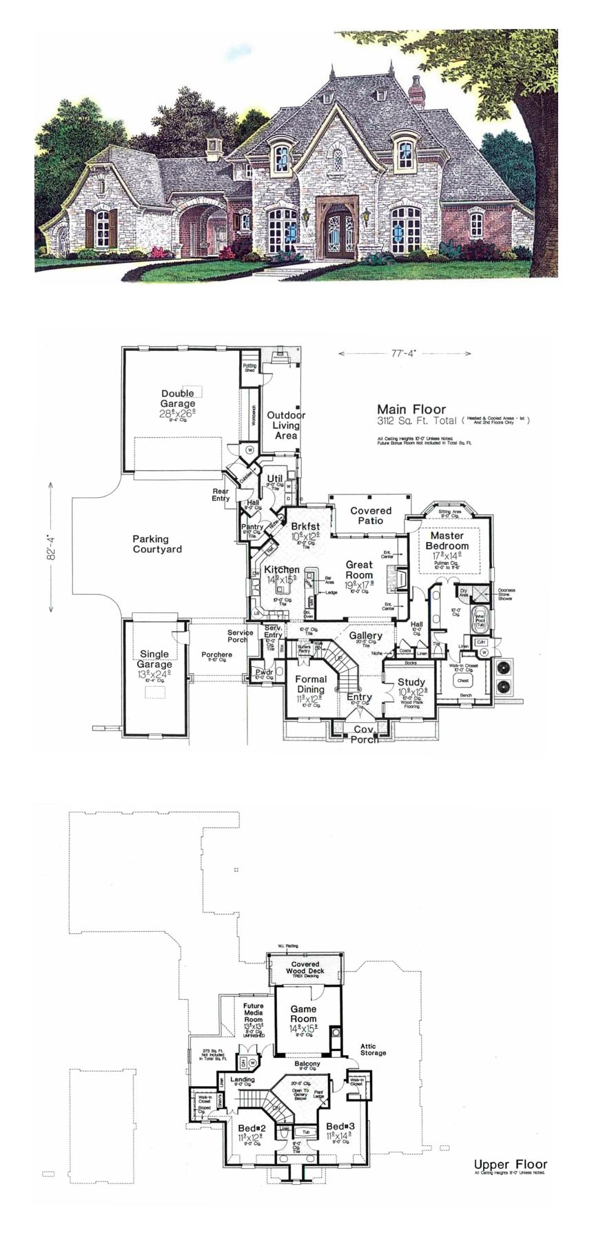 French Country House Plan 92230 Total