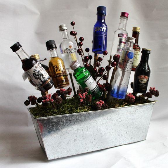 A Gift Basket Of Booze Diy Gifts Gift Baskets Raffle