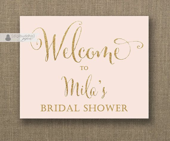 graphic relating to Printable Bridal Shower Signs titled Blush Purple Gold Glitter Welcome Signal Bridal Shower Wedding day