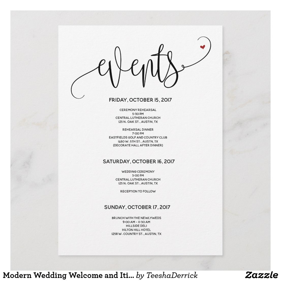 Modern Wedding Welcome And Itinerary Card V24 Zazzle Com