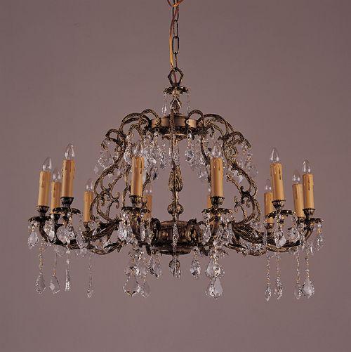 antique brass chandelier | ... Chandeliers 12 Light Antique French Brass & Crystal Chandelier k12