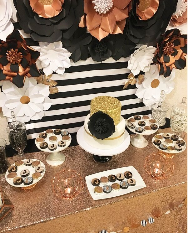 Black And White Stripe Party Rose Gold Black White And Rose Gold