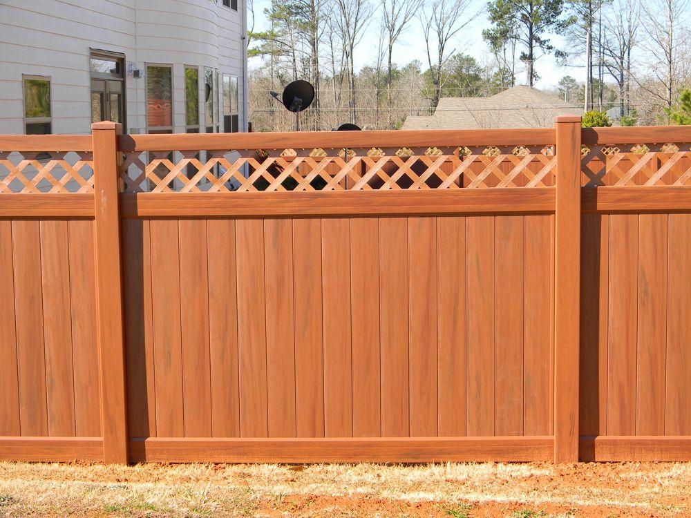 Mocha Walnut Vinyl Privacy Fence With Lattice Top Accent