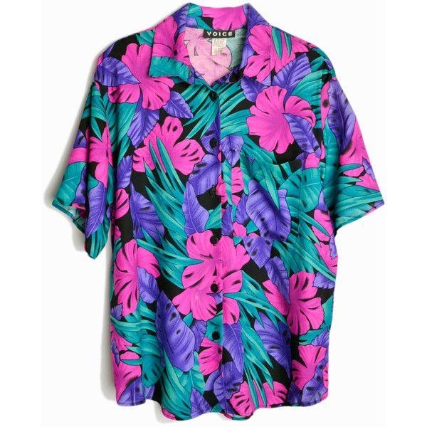 Vintage 80s Tropical Party Shirt Pink Purple Jungle Top Women S Medium Vintage Shirts Party Shirts Mens Fashion Edgy
