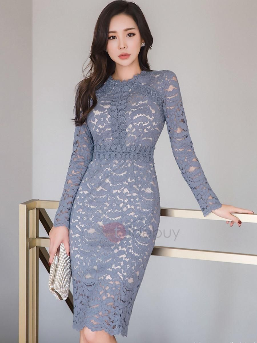 Plain long sleeve patchwork womens lace dress spring