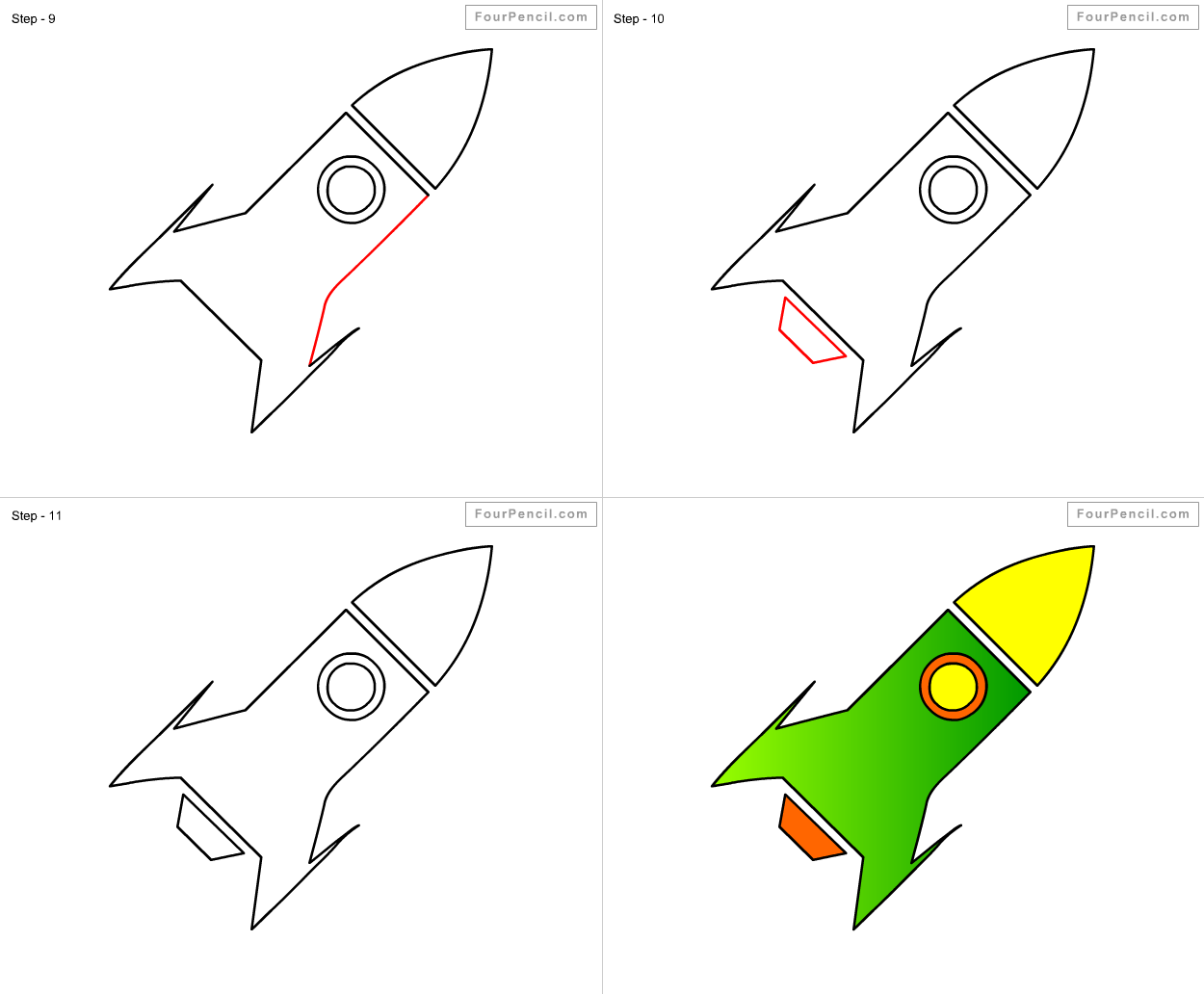 Uncategorized Draw Rocket how to draw rocket for kids step by drawing tutorial kids