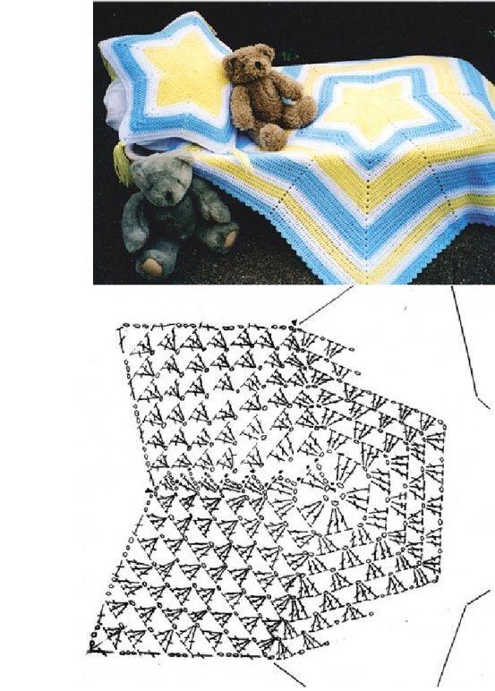Colcha de estrella   crochet baby   Pinterest   Colchas de estrellas ...