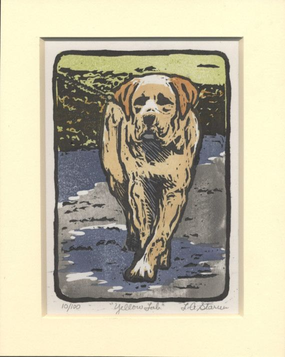 Yellow Lab Woodblock Print Hand Printed By Artisanlyn On Etsy