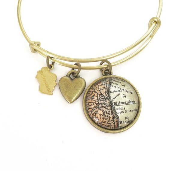 Milwaukee Map Charm Bracelet Wisconsin Oak Creek