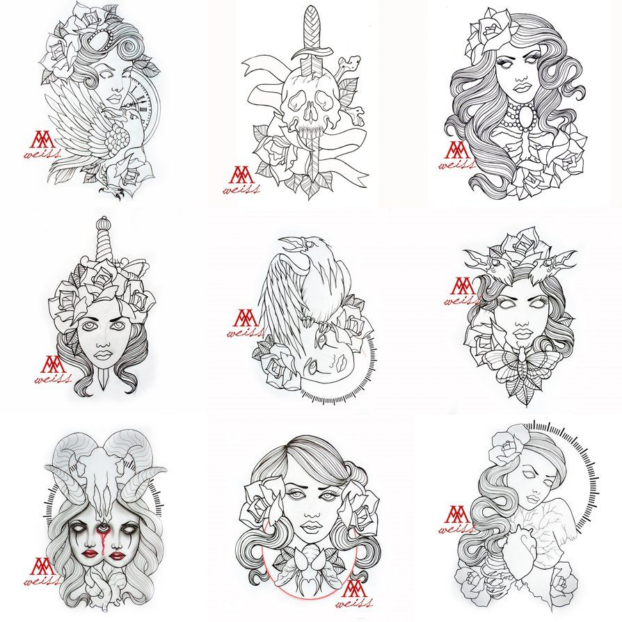 Tattoo Outlines IN RAR FOLDER Free Download 9 Pcs Pack