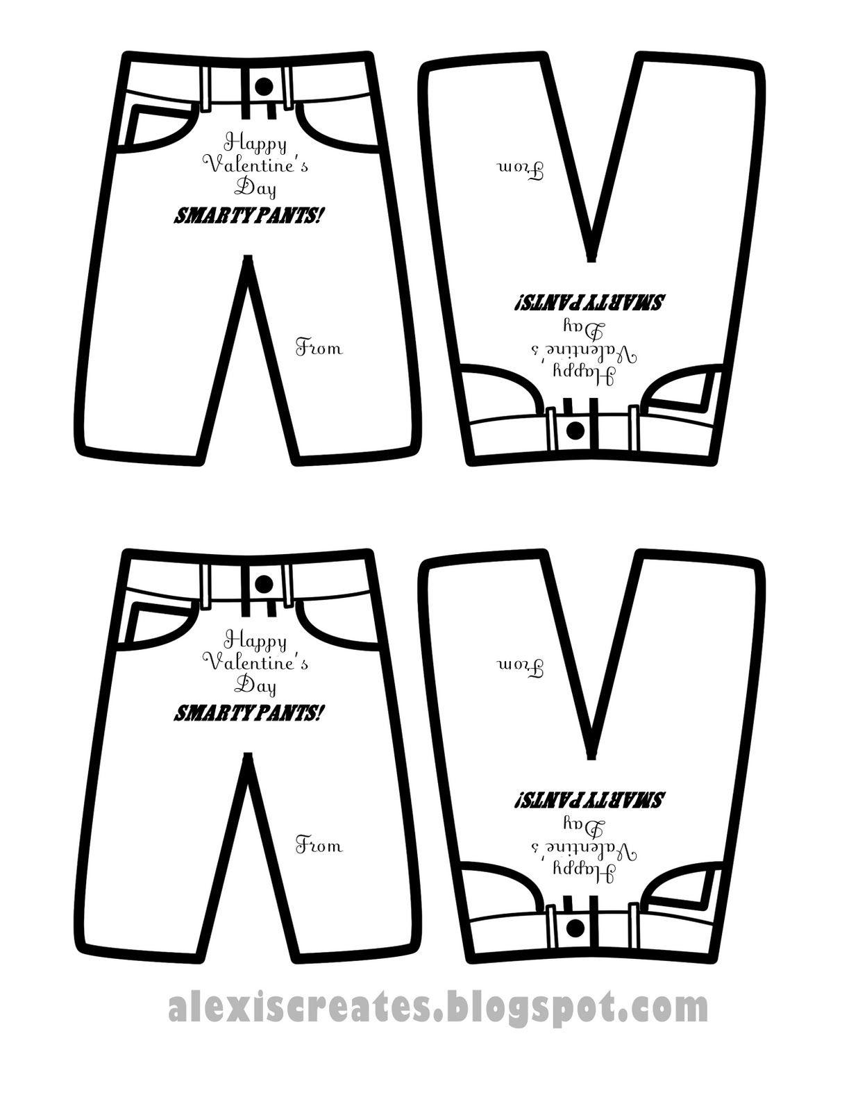 Alexis Design Gallery Printable Smarty Pants Valentine