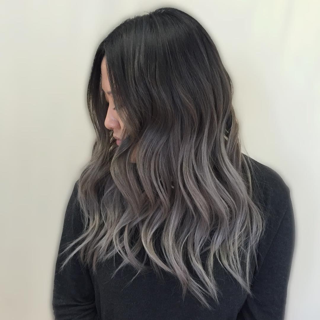 silver melt balayage grey kycolor on Instagram   Balayage hair ...