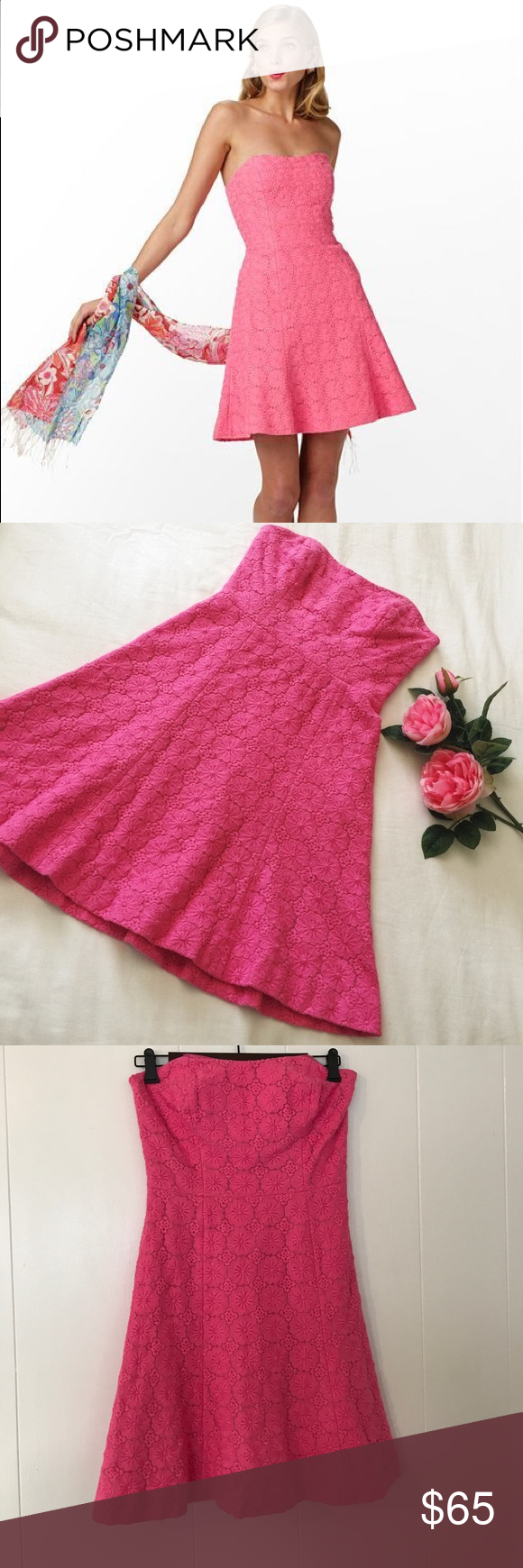 Lilly Pulitzer Pink Flowers Strapless (Size 2)