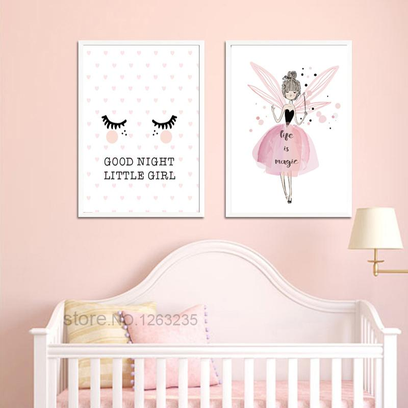 Little Girl Pink Nursery Posters And Prints Fairy Nordic