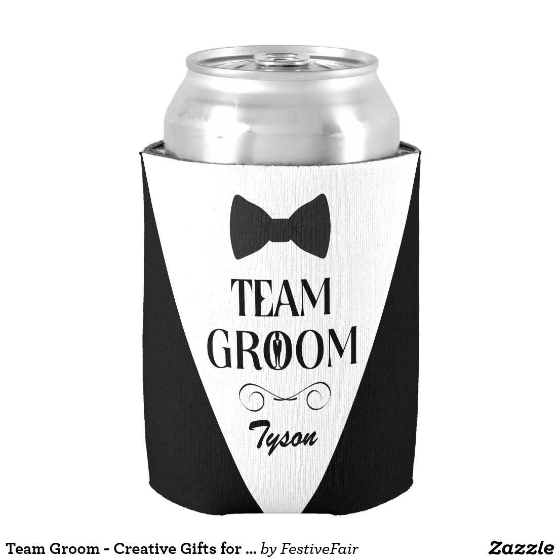 Custom bachelor and bachelorette koozie team groom