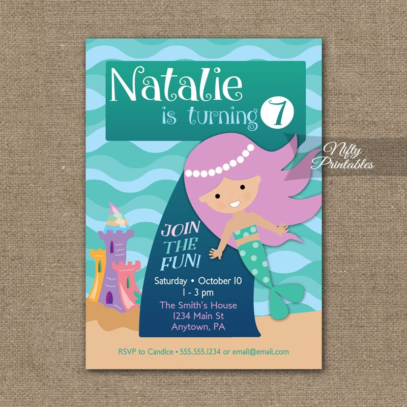 7th Birthday Invitation Mermaid Invitations