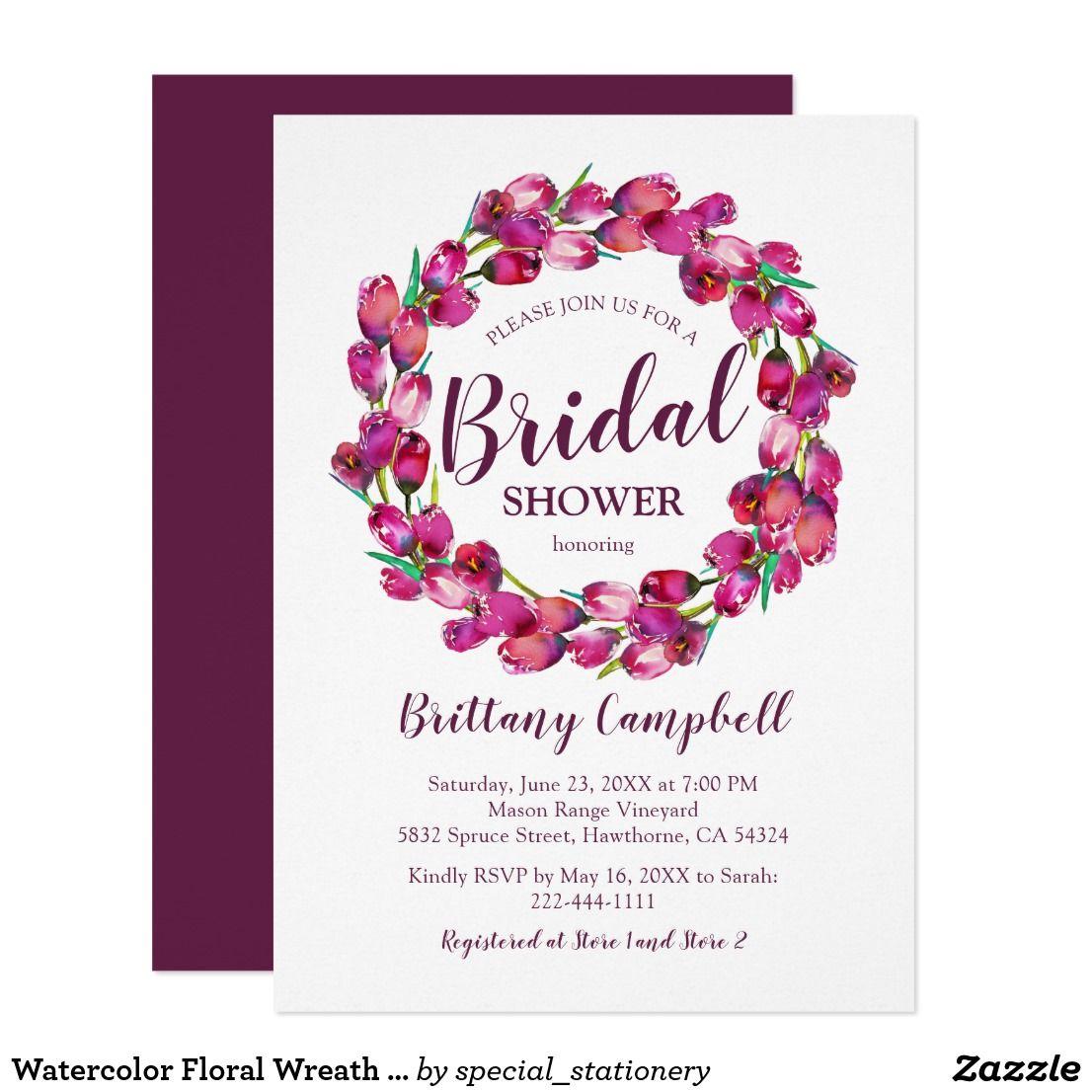 Watercolor Floral Wreath Pink Bridal Shower Invitation | { Wedding ...