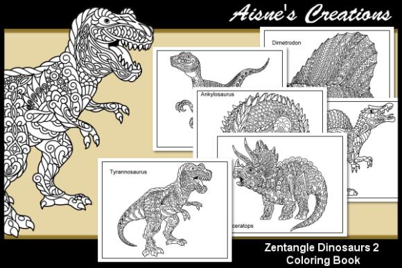 Print On Demand Zentangle Dinosaurs Coloring Book 2 Graphic Coloring Pages In 2020 Coloring Books Dinosaur Coloring Dinosaur Coloring Pages