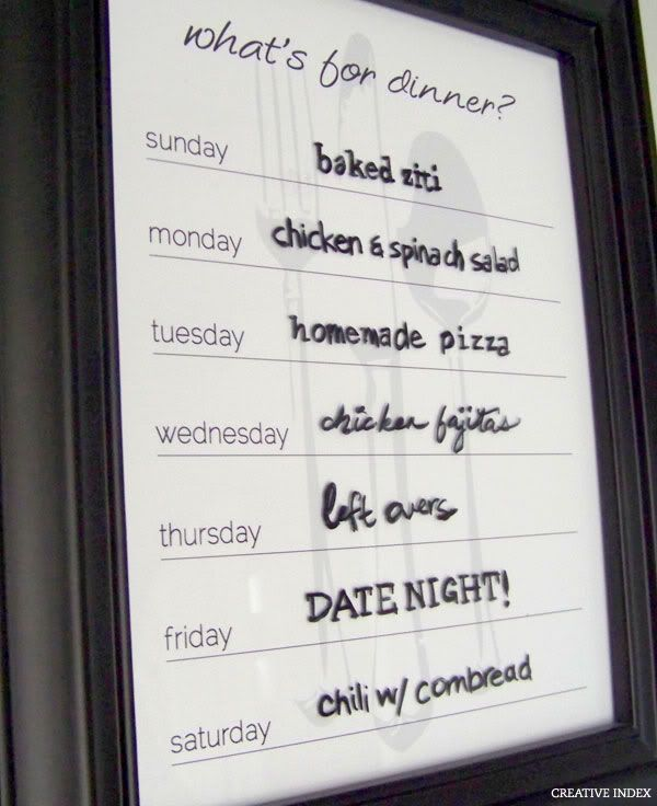 DIY Dry Erase Menu Board for your kitchen Crafts Pinterest - board memo template