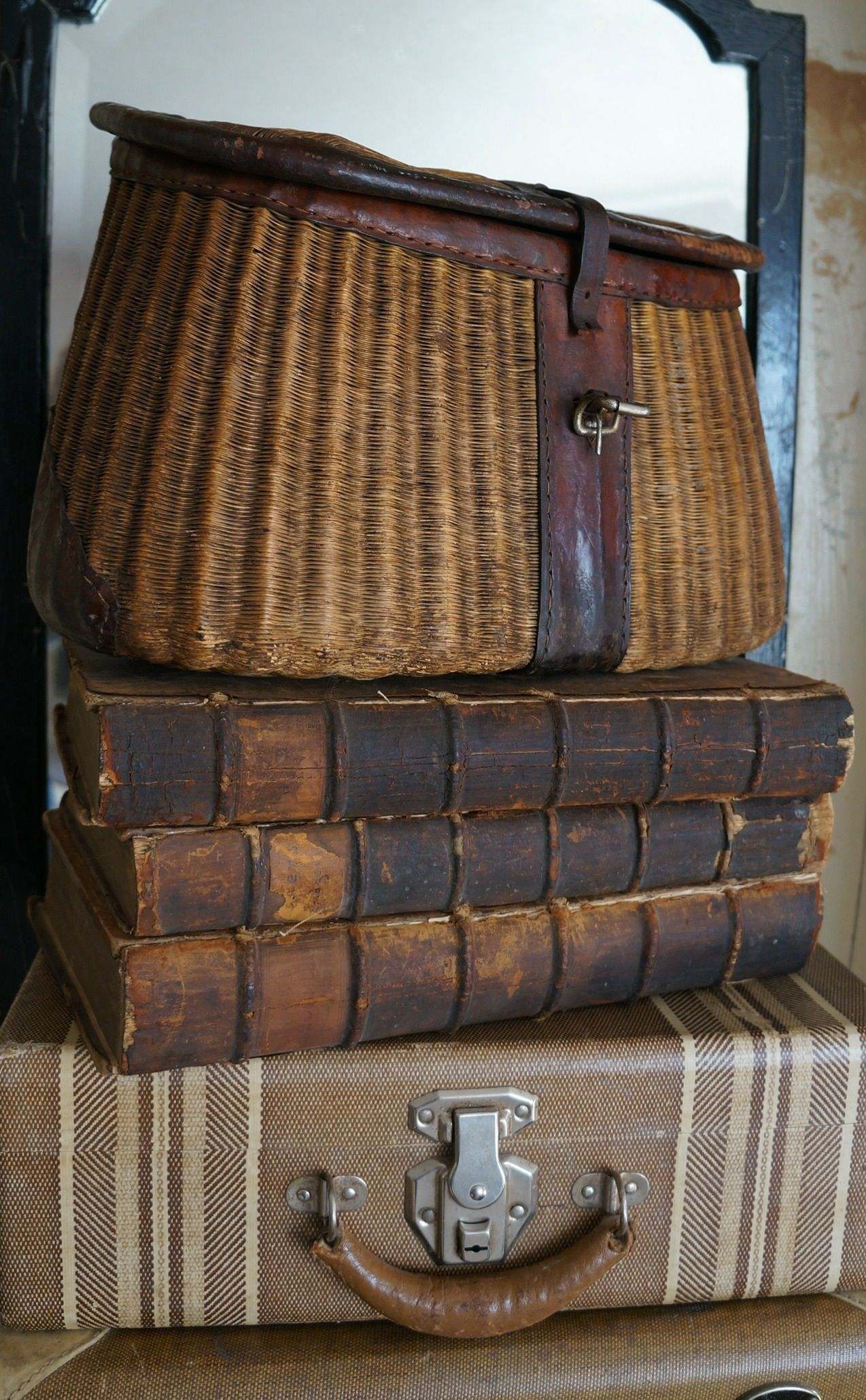 Vintage Decorative Suitcases Vintage Fishing Creel Vignette Displays For The Pea