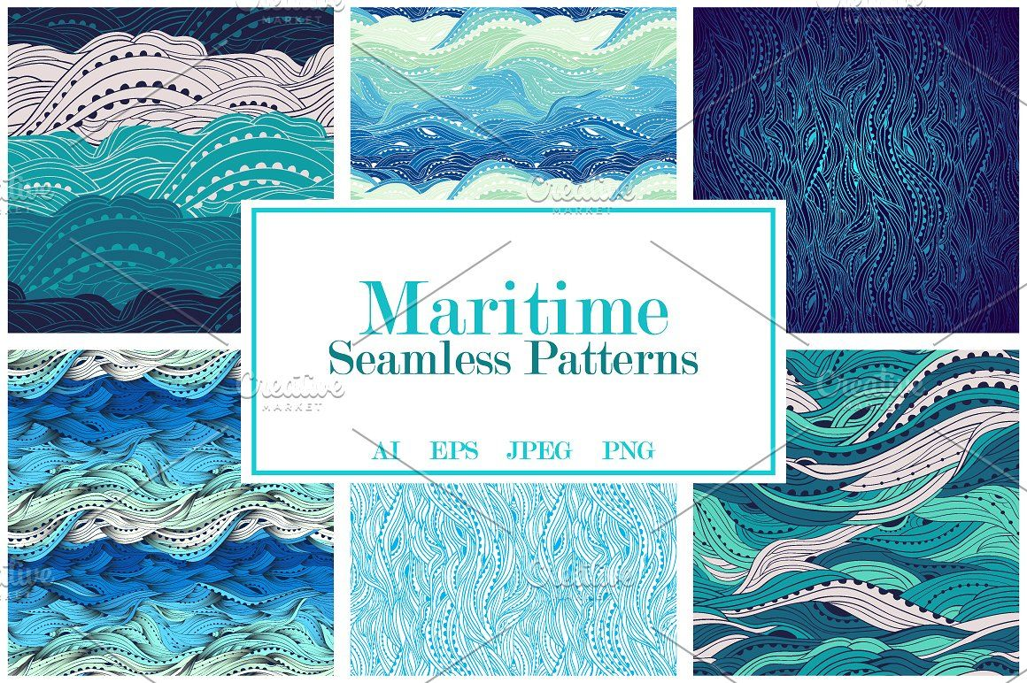 Maritime Seamless Pattern Set Wave Pattern Seamless Sea Vector Surf