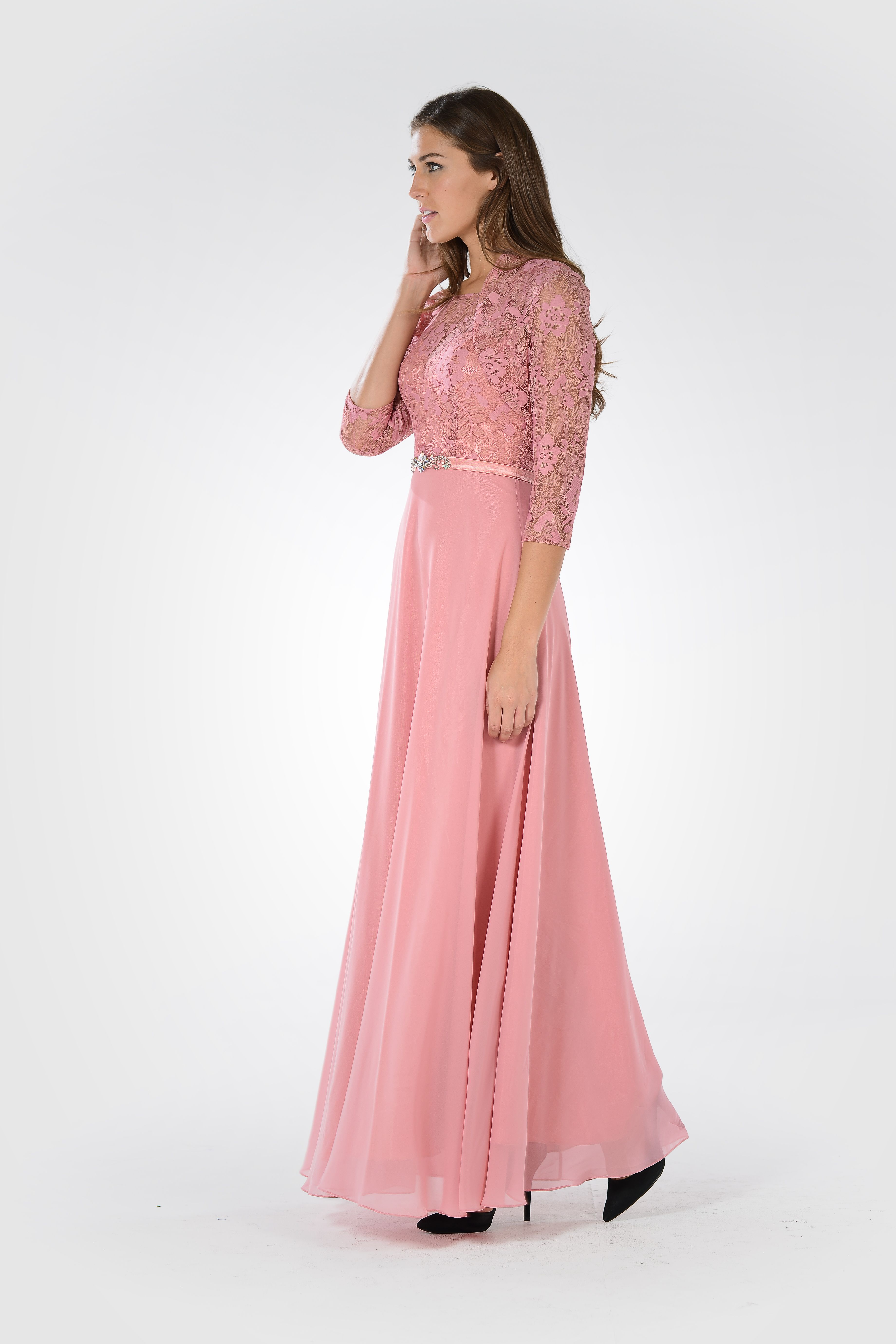 Style 7772 - Mother of the bride dress. Chiffon and lace dress with ...