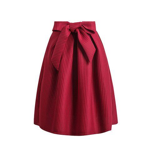 gran venta b3f96 7ddf3 Falda burdeos con lazo | moda | Faldas de rayas, Faldas ...