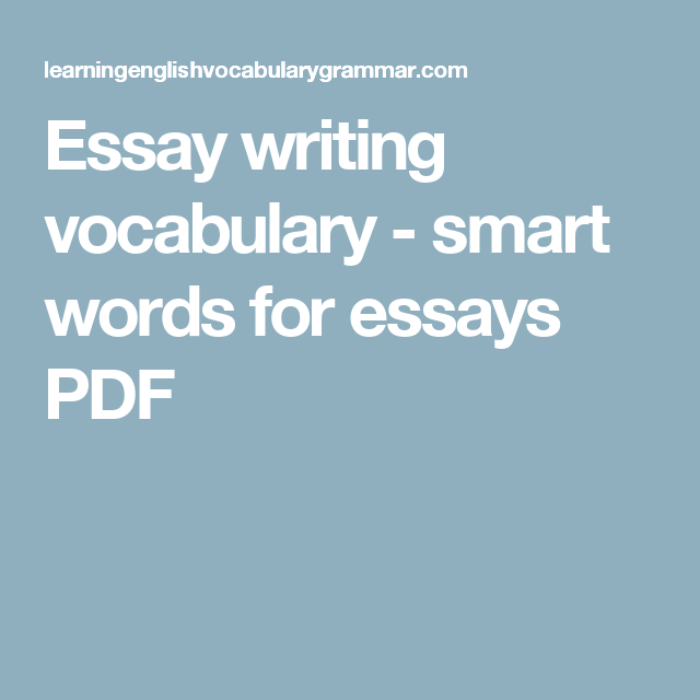 Application essay writing vocabulary words
