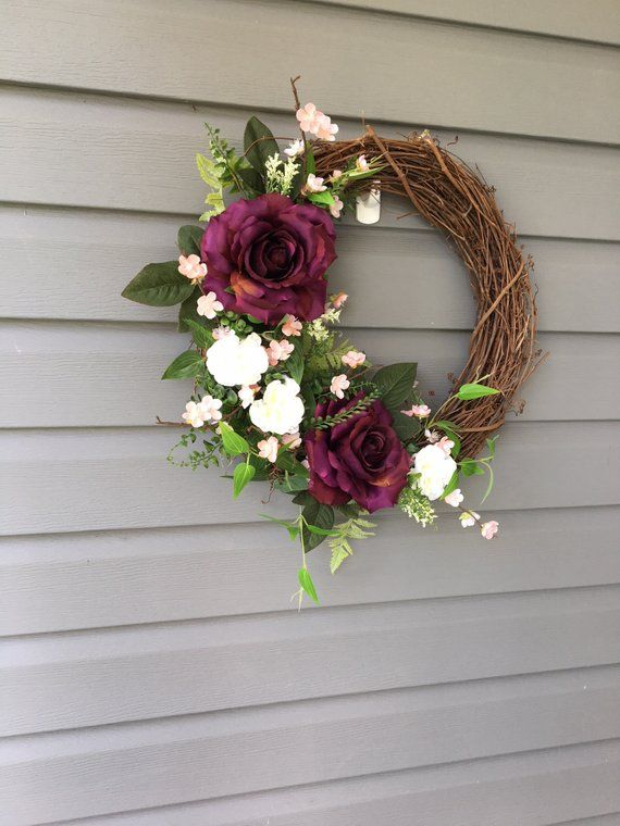 Photo of Items similar to summer wreath for front door, modern wreath, floral wreath, rosary, shabby chic decor, gift for her, wine wreath, summer wreath on Etsy
