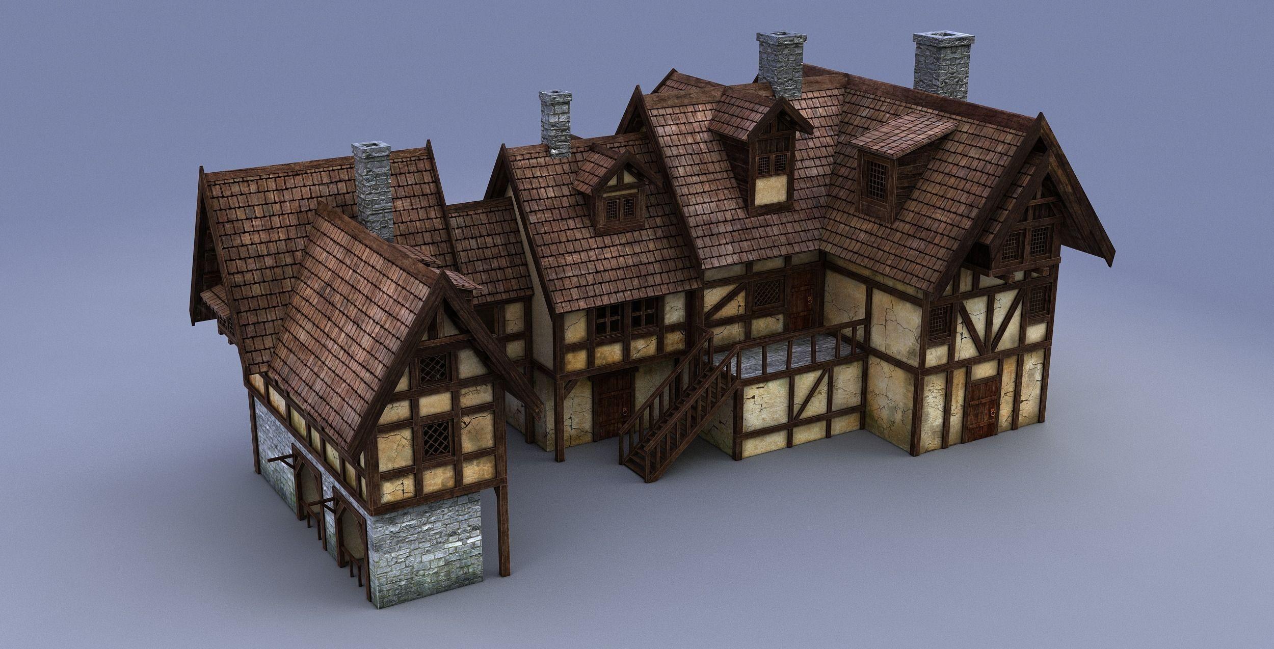 Medieval House 3d Model Max Obj 3ds Fbx Mtl Mat 9 Art