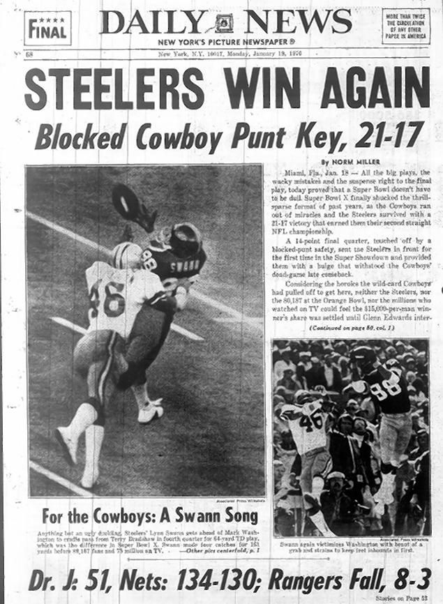 Super Bowl 10 New York Daily News Pittsburg steelers