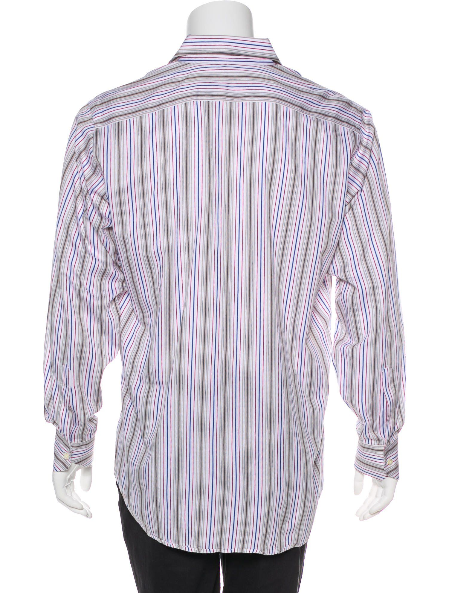 Men S White And Multicolor Etro Striped Dress Shirt With Point Collar One Button Cuffs And Button Closures At Front Etro Etro Shirts Striped Dress Shirt Dress [ 1982 x 1502 Pixel ]