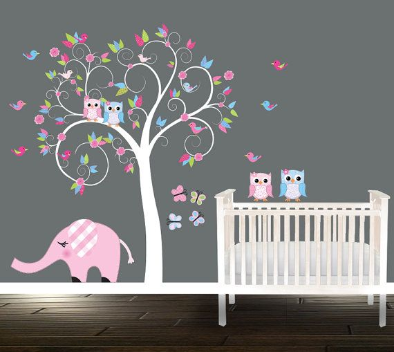 Swirly Nursery Owl Wall Decal Pink Blue Nursery Tree Birds Owls Elephant & Swirly Nursery Owl Wall Decal Pink Blue Nursery Tree Birds Owls ...