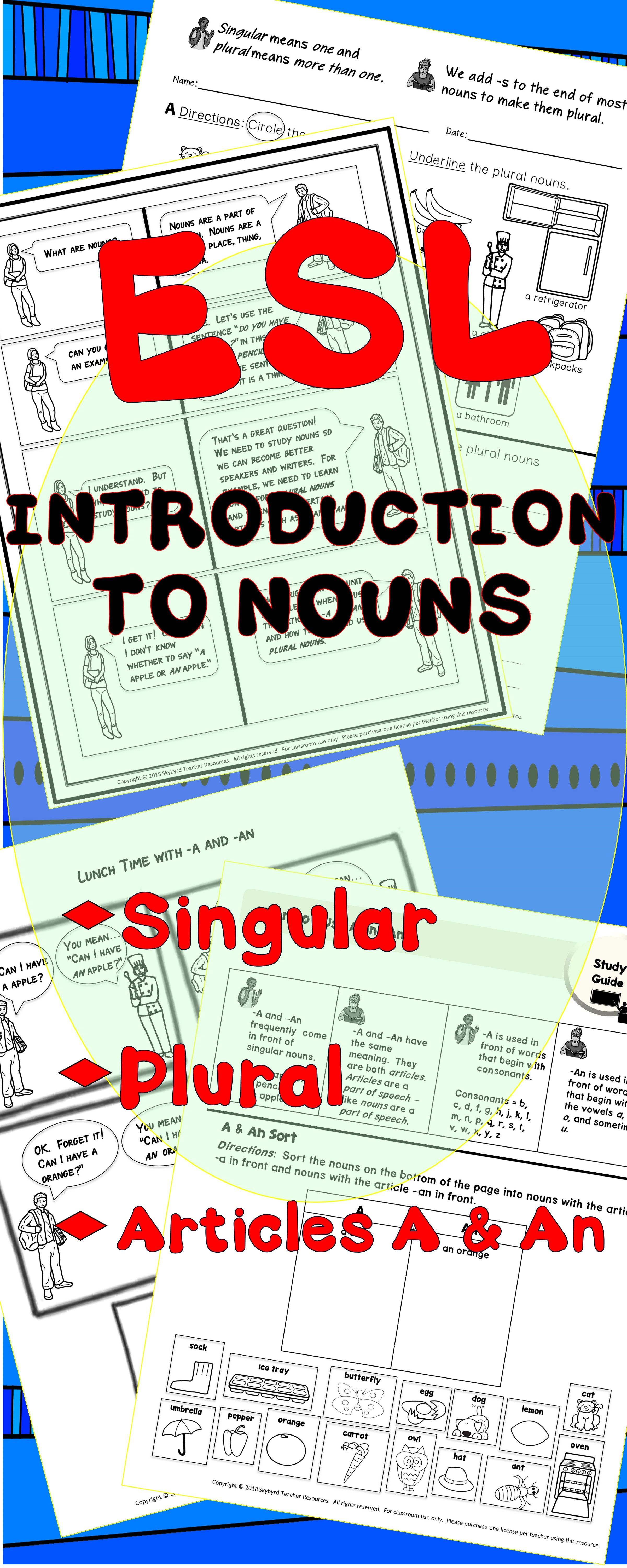 Esl Efl Grammar Intro To Nouns Singular Amp Regular Plural